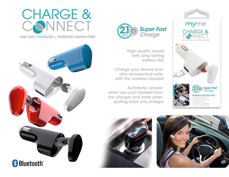 Connect & Charge USB Car Charger + Bluetooth