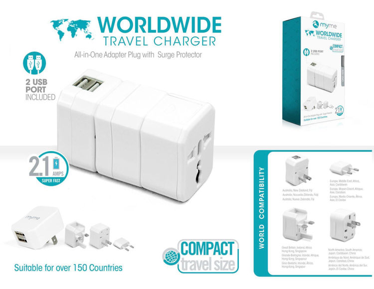 WORLDWIDE Travel Charger with 2 USB Ports