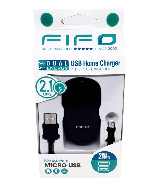 DUAL USB Home Charger for All MICRO USB Devices